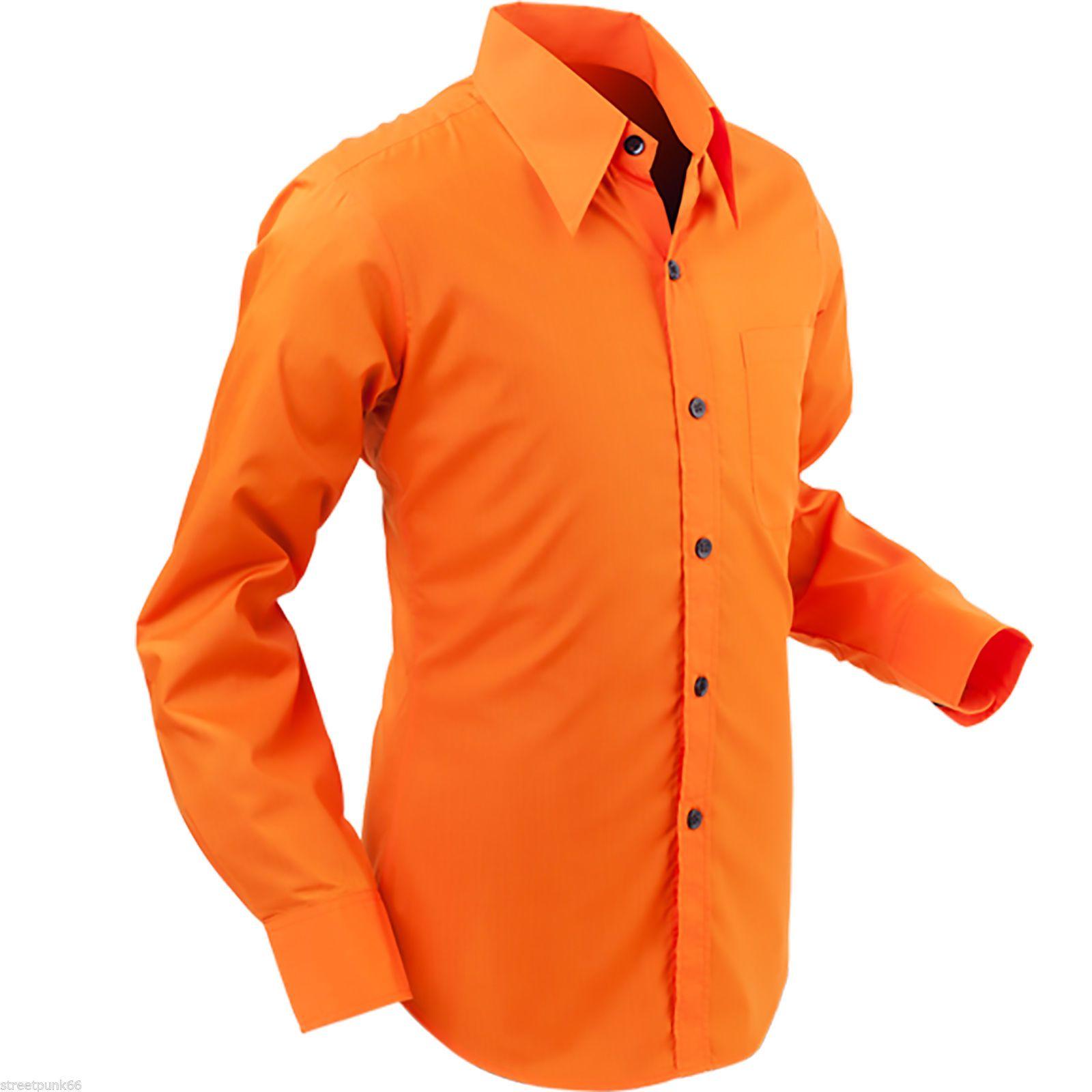 Chenaski Mens Orange Retro 70 s Styled Plain Coloured ...