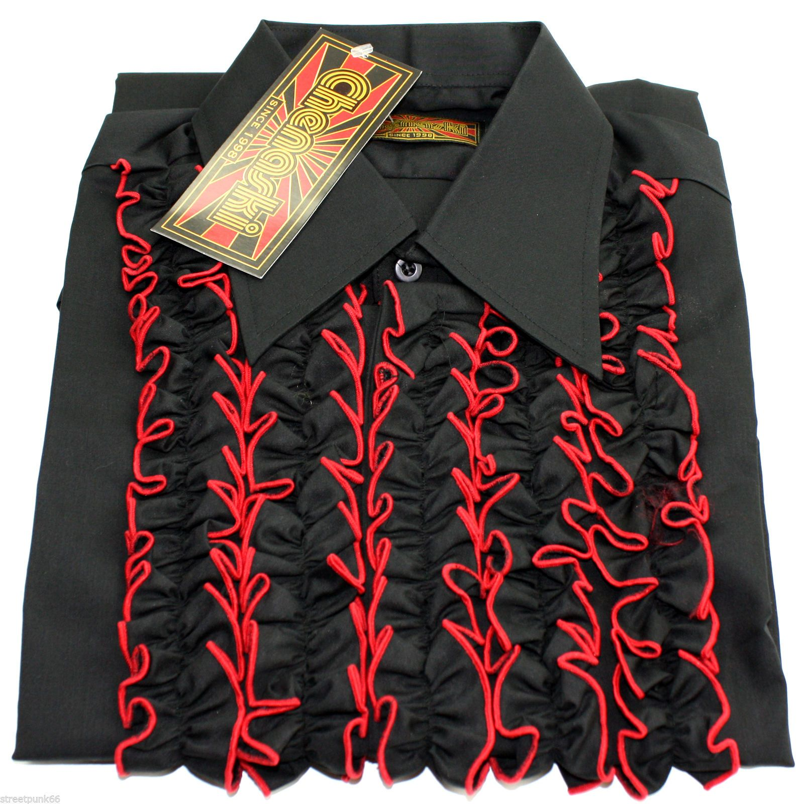 Chenaski mens retro ruche black red ruffle tuxedo shirt for Red ruffled tuxedo shirt