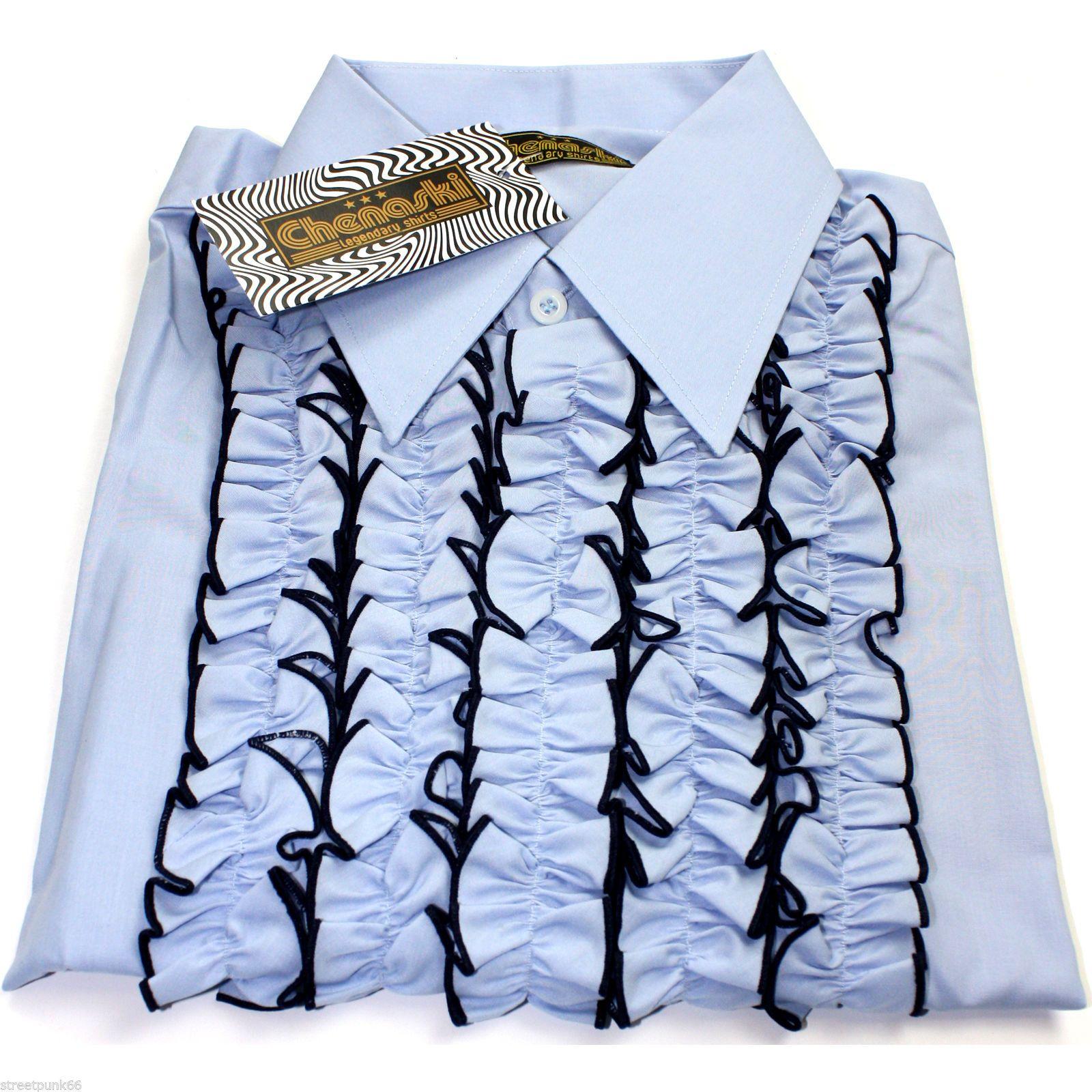 Chenaski Mens Retro Ruche Light Blue Ruffle Tuxedo Shirt
