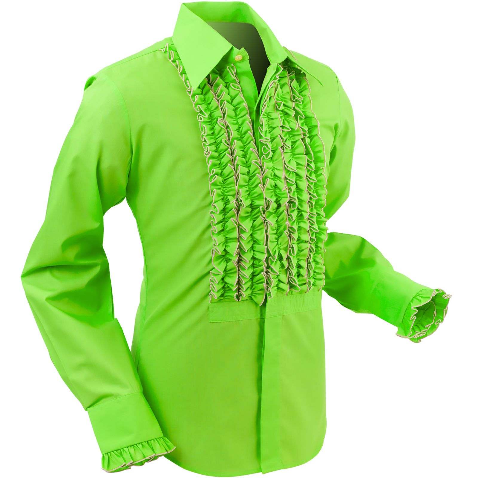 Chenaski mens retro ruche lime green ruffle tuxedo shirt for Neon green shirts for men