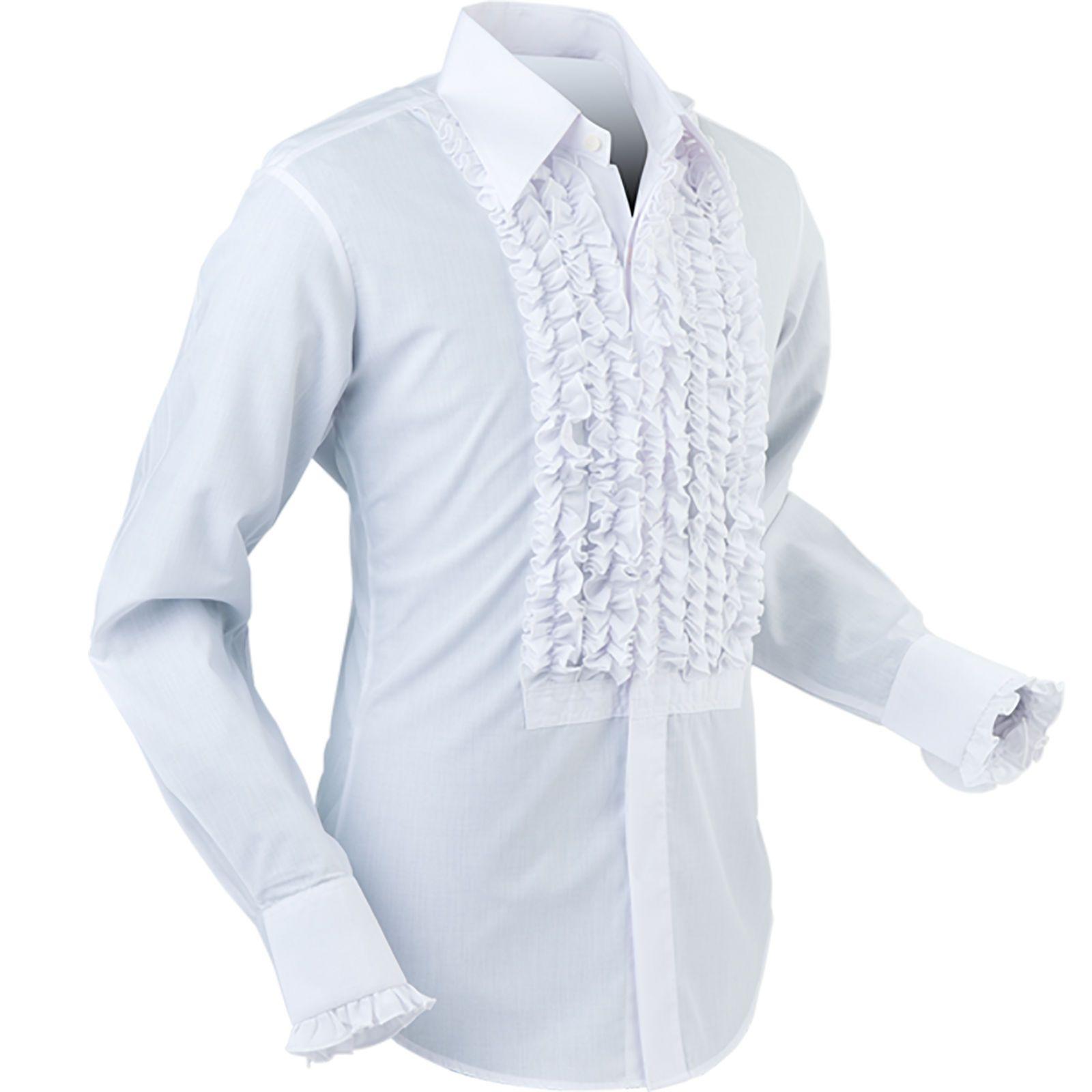 Chenaski Mens Retro Ruche White Ruffle Tuxedo Shirt Tux