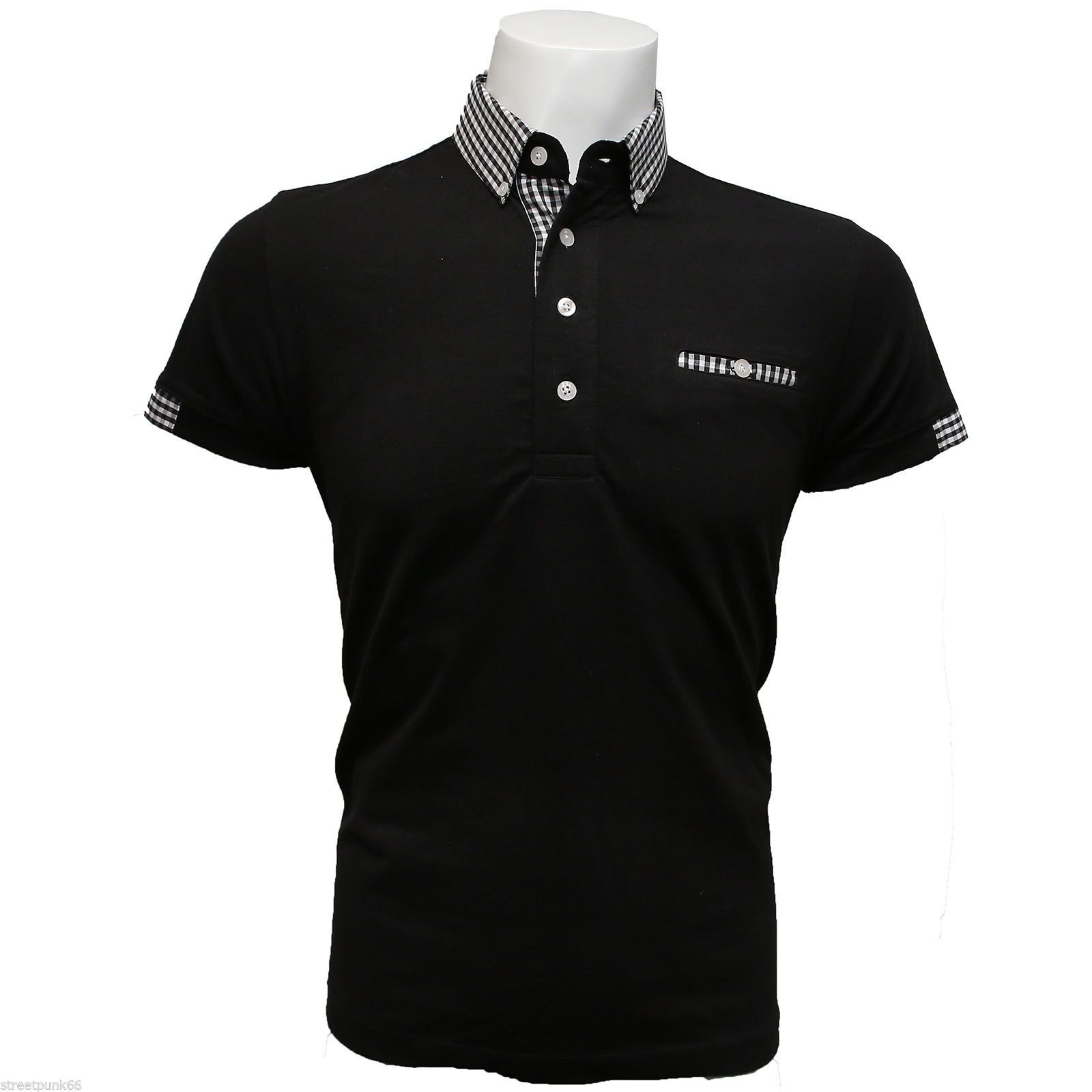 Relco mens black polo shirt button down gingham check for Black polo shirt images