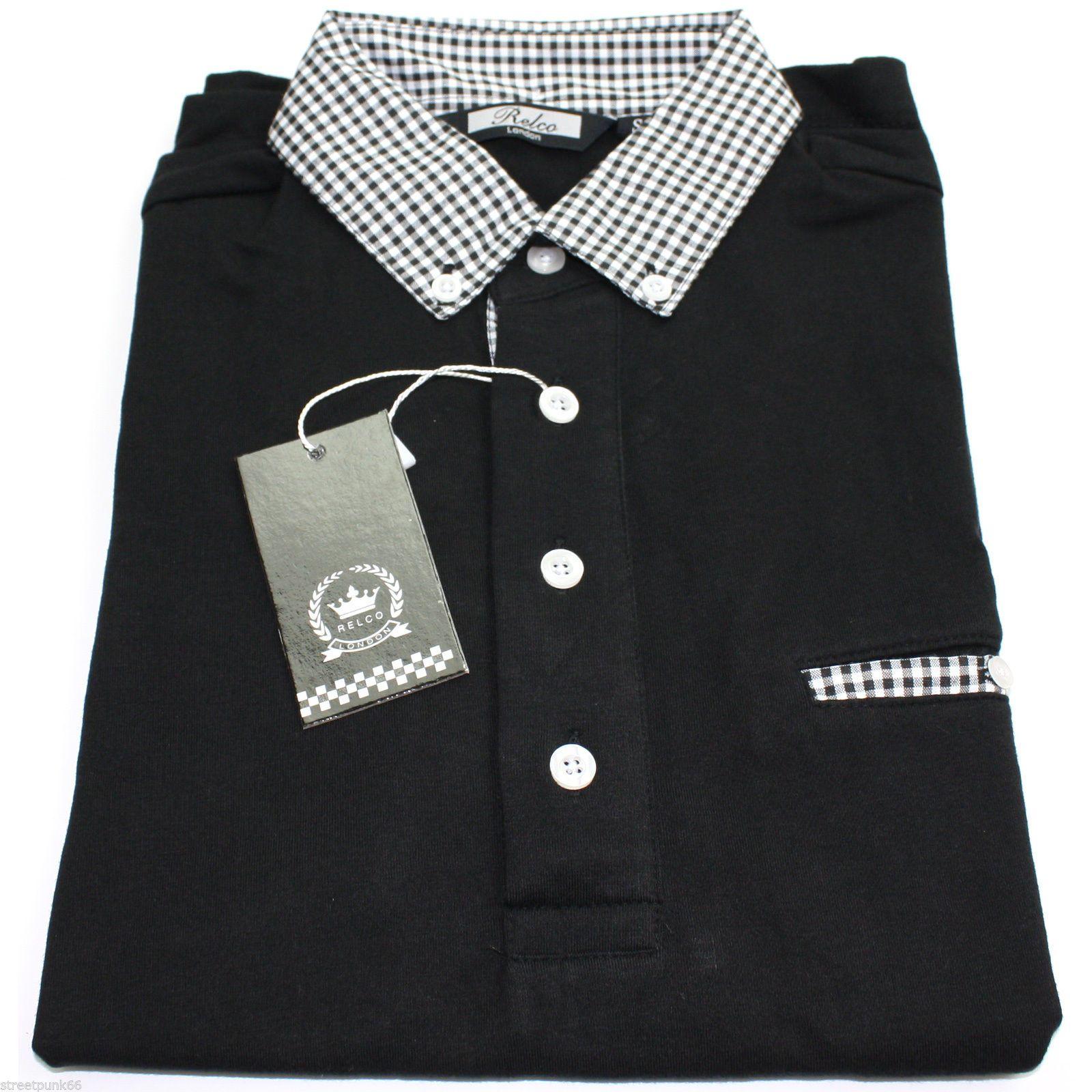 Relco Mens Black Polo Shirt Button Down Gingham Check
