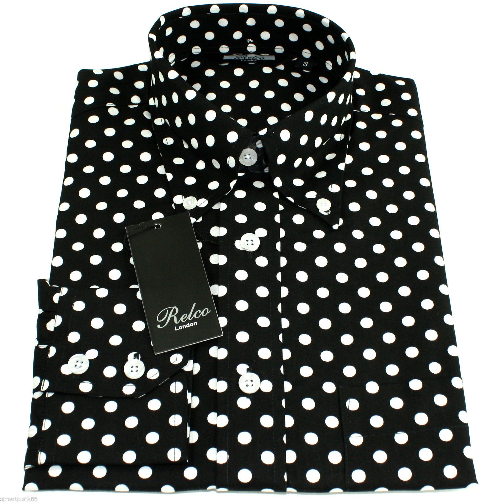 Crazy4bling Men's White with Black Polka Dot Accents Dress Shirt, Size Medium. Sold by Crazy4Bling. $ $ Petite Adele Little Girls White Black Polka Dot Lace Tulle Tutu Dress 2T