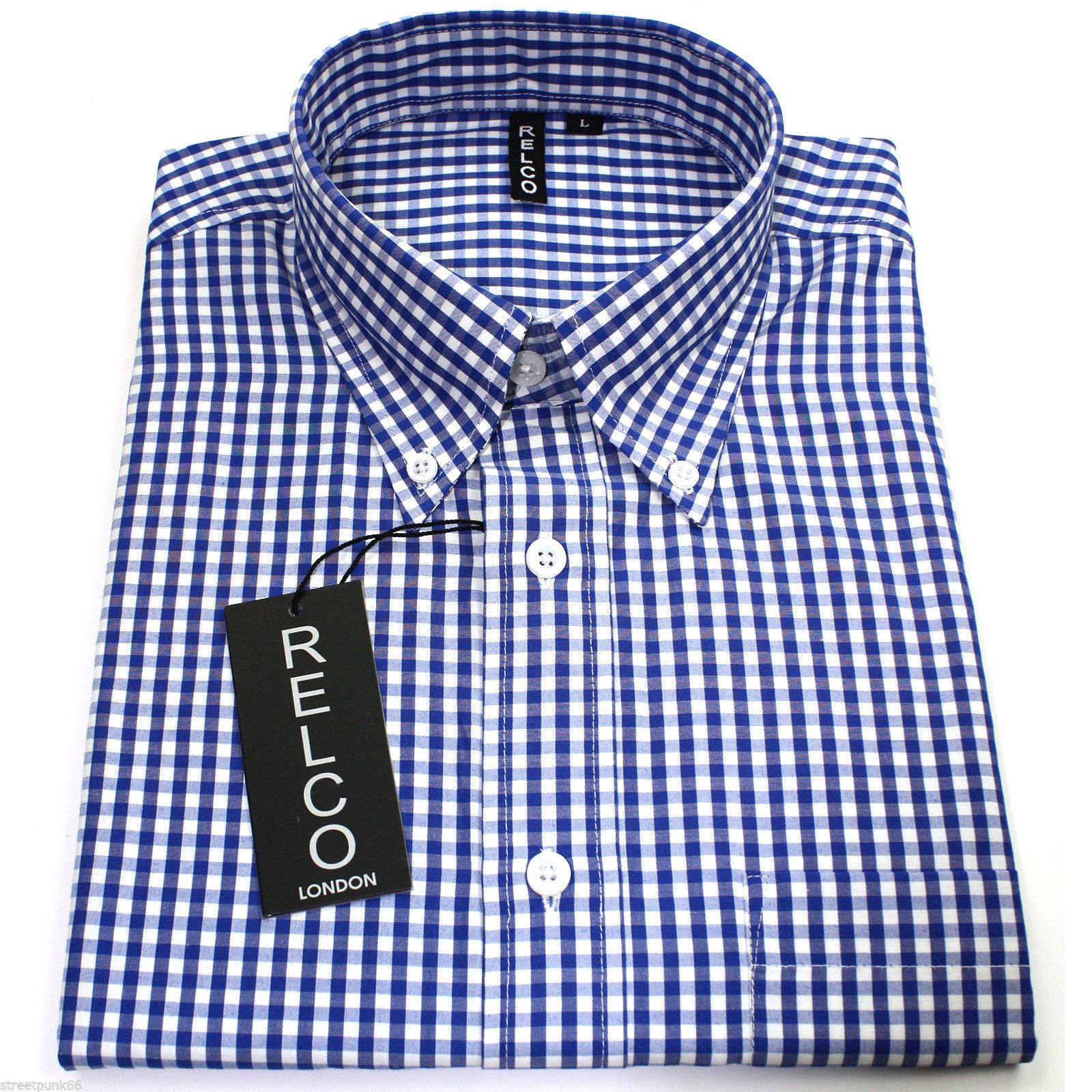 Relco mens blue white gingham short sleeved shirt button for Mens blue gingham shirt