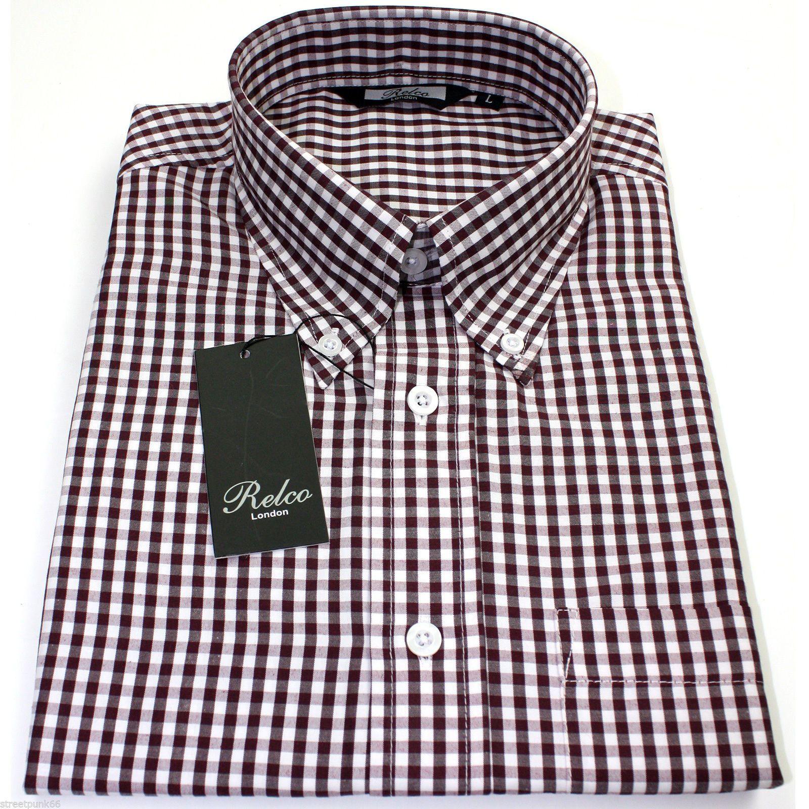 Relco Mens Burgundy White Gingham Short Sleeved Shirt Button Down ...