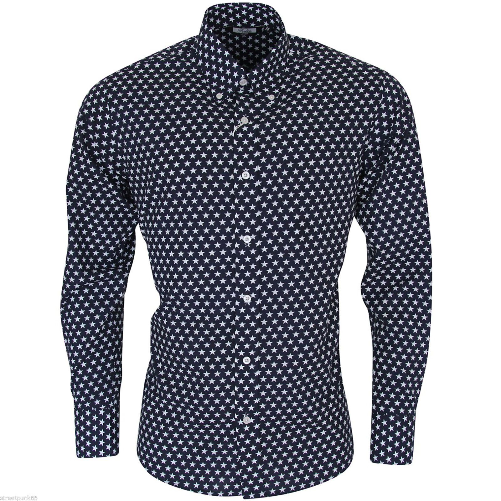 Relco Mens Navy Blue White Star Long Sleeved Button Down