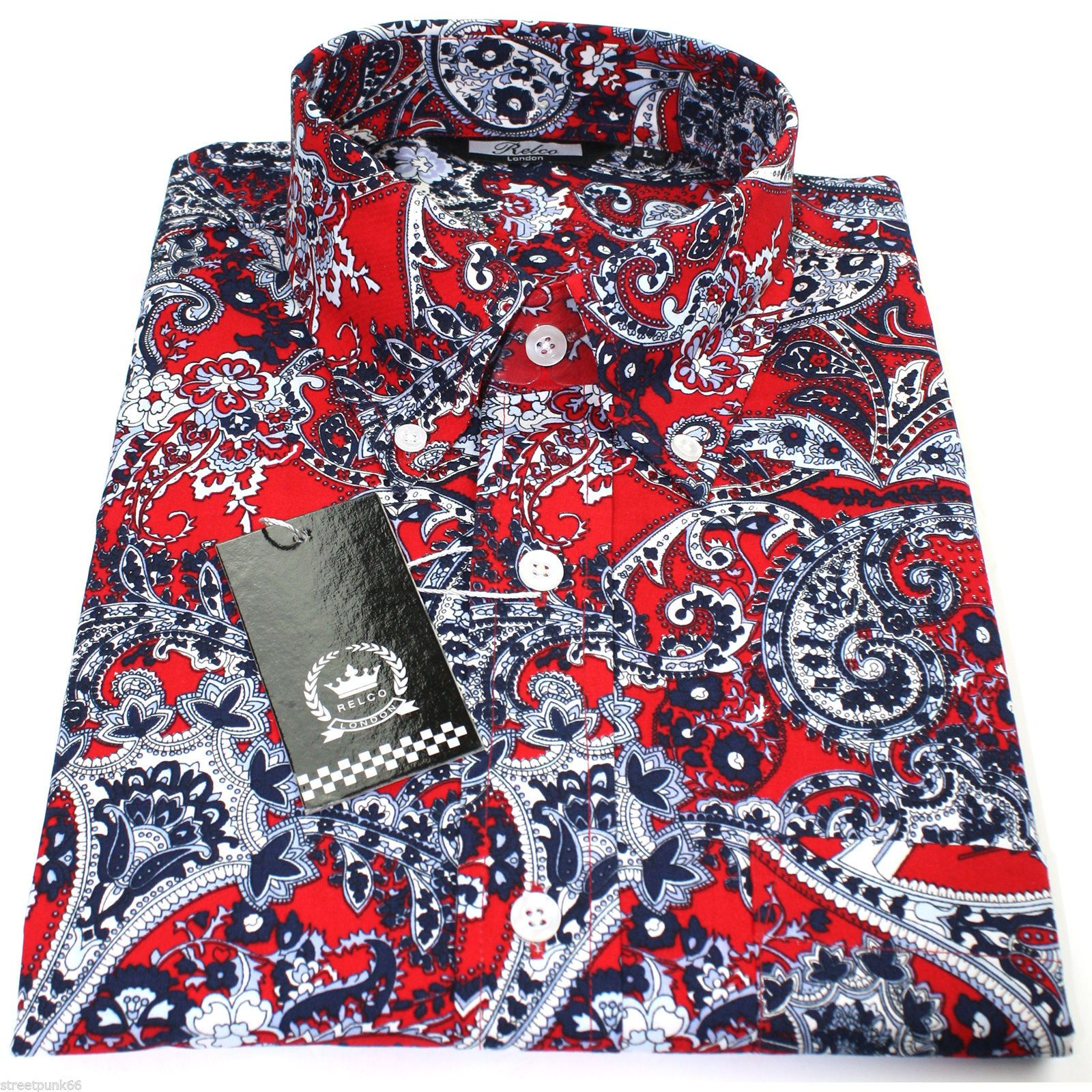 Relco Mens Red Navy Sky Paisley Long Sleeved Button Down
