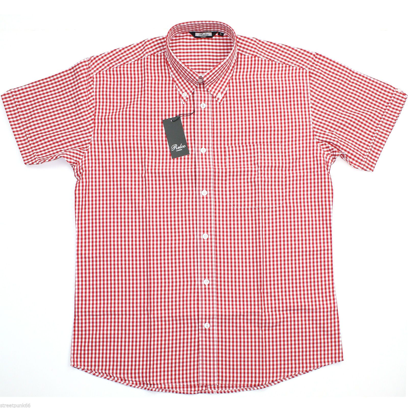 Relco mens red white gingham short sleeved shirt button for Red and white button down shirt