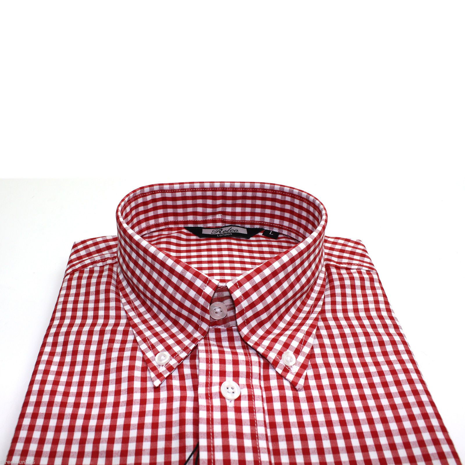 Relco Mens Red White Gingham Short Sleeved Shirt Button