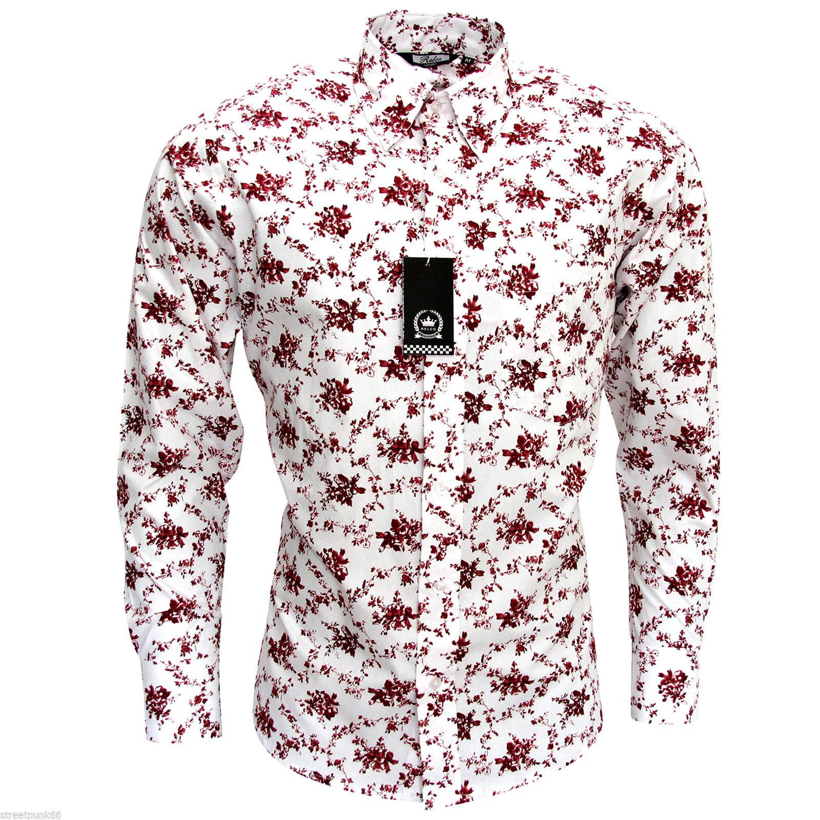 Relco mens white burgundy floral long sleeved shirt mod for Mens white floral shirt