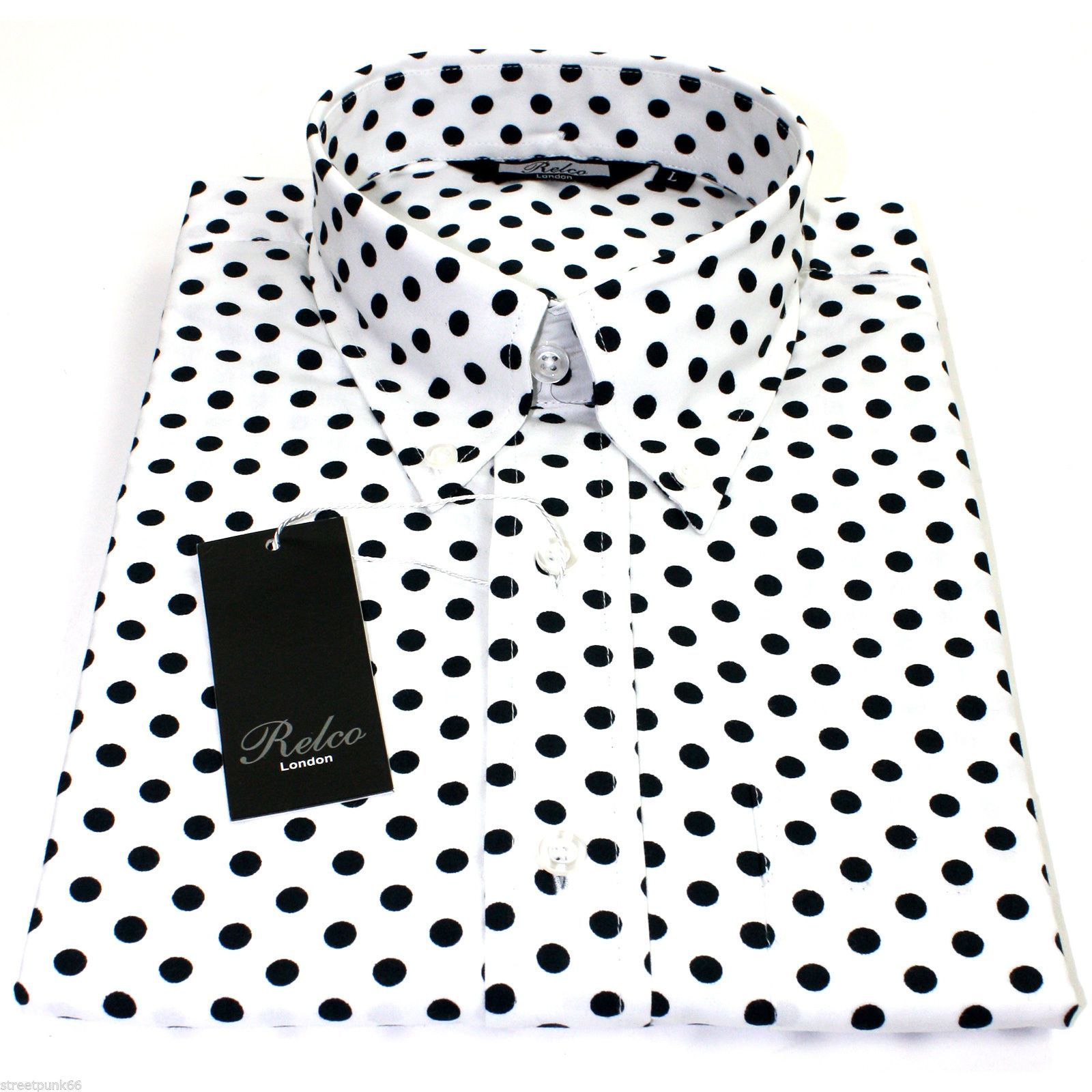 Relco Mens White Polka Dot Button Down Long Sleeved Shirt ...