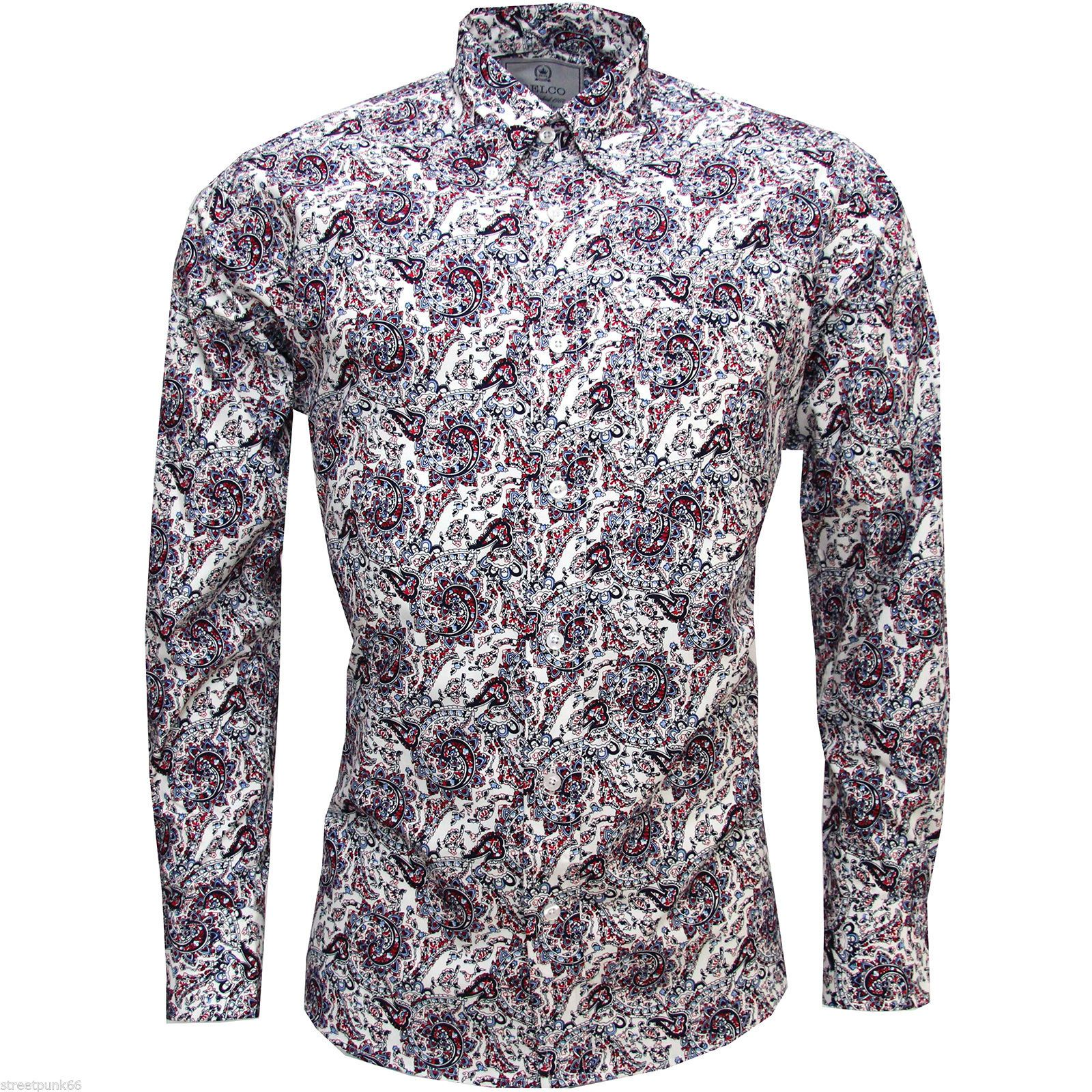 Relco Mens White Red Blue Paisley Long Sleeved Button Down