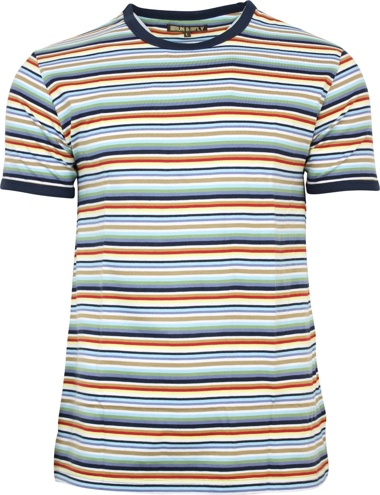07300aa8 Mens Run & Fly Multi Coloured Retro Indie Striped Ringer T-Shirt 60s 70s  80s 90s