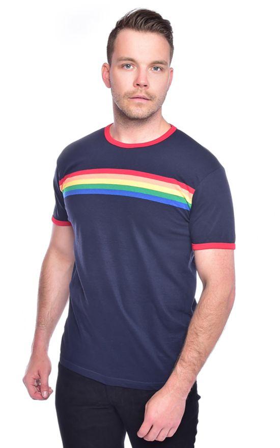 598b2cc85e Mens Run & Fly Navy Retro Indie Rainbow Striped T-Shirt 60s 70s 80s 90s