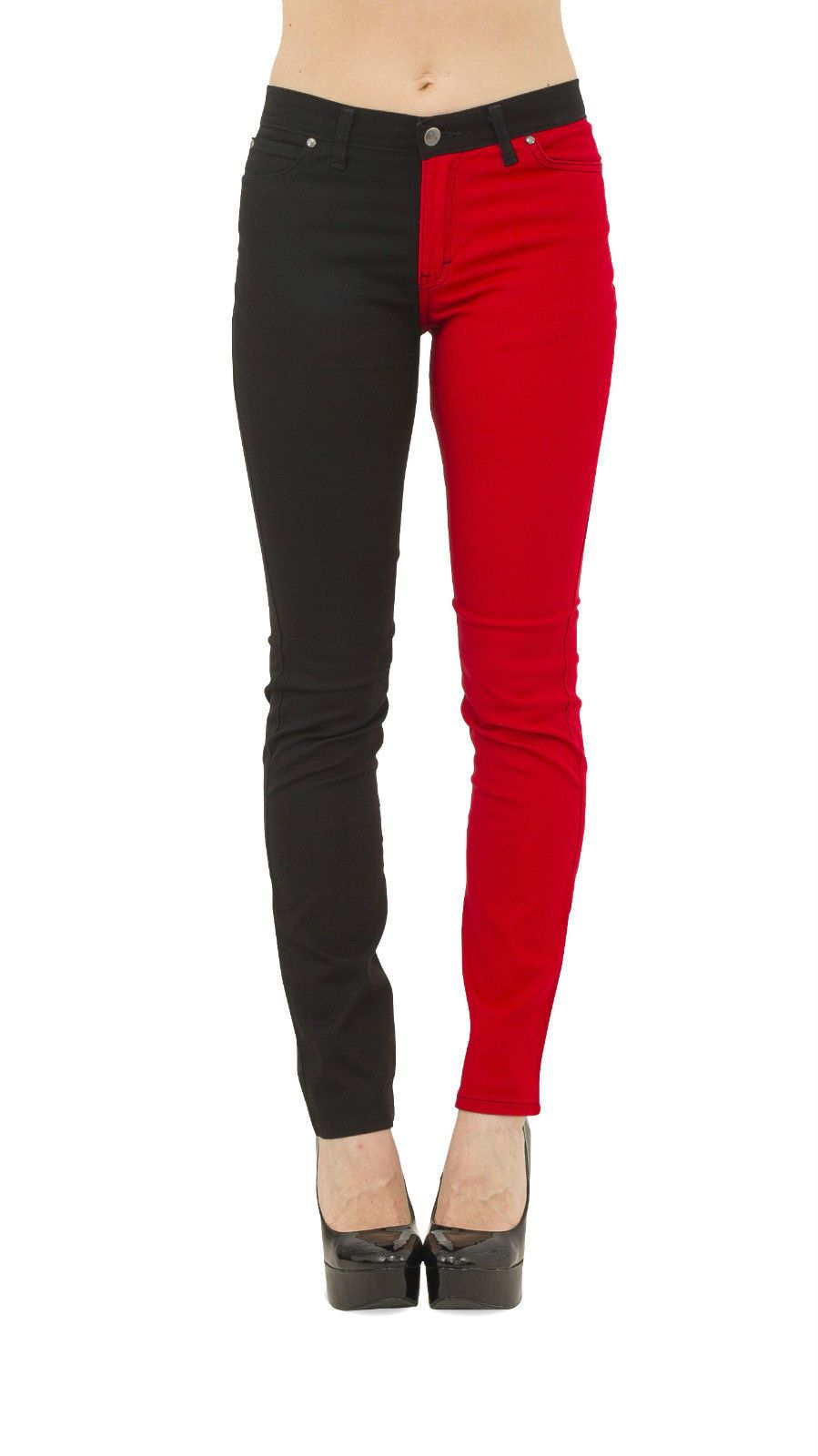 New Womens Skinny Stretch Mid Rise Red Amp Black Split Leg