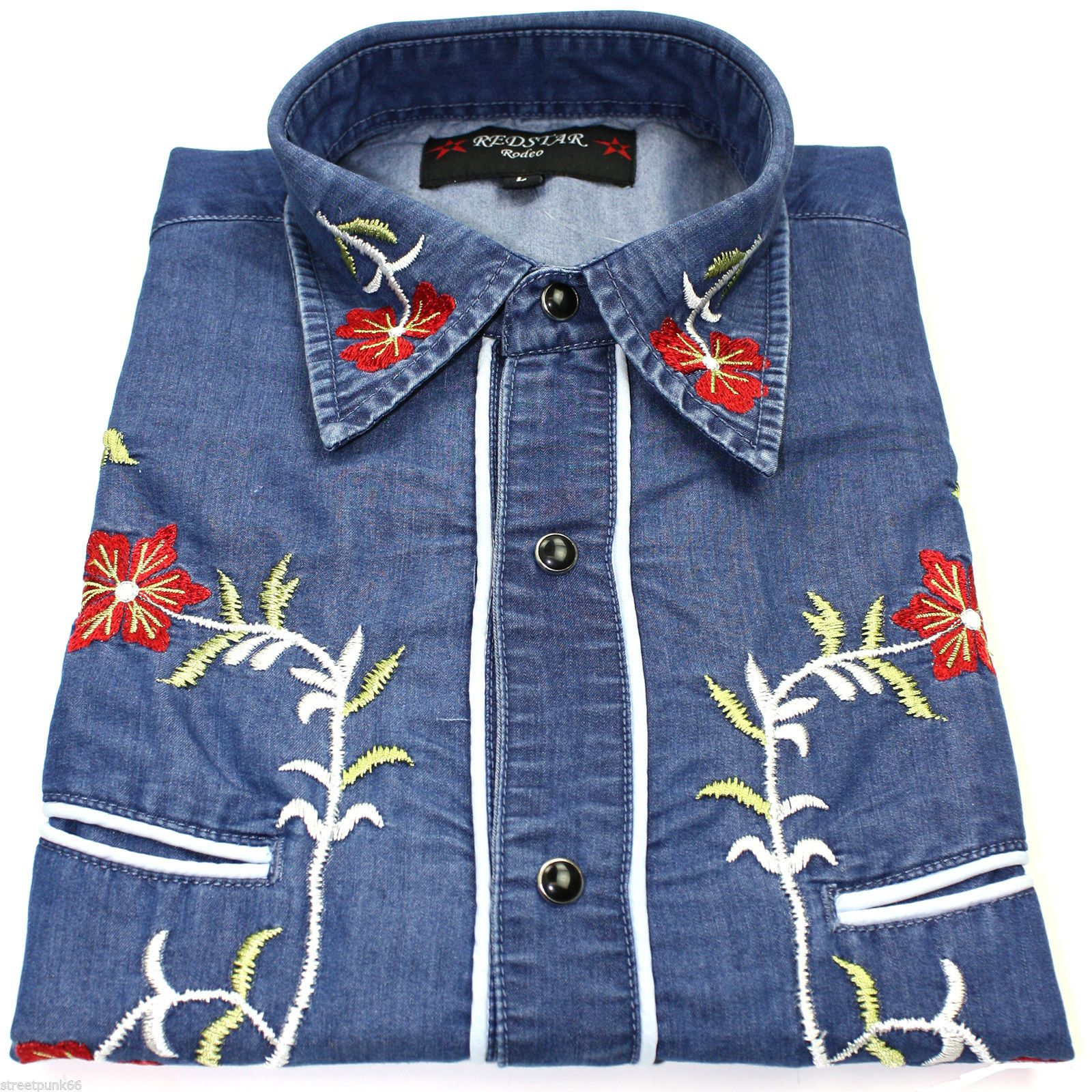 827b9f83 Relco Denim Blue Cowboy Western Line Dancing Flower Embroidered Shirt Rodeo  New