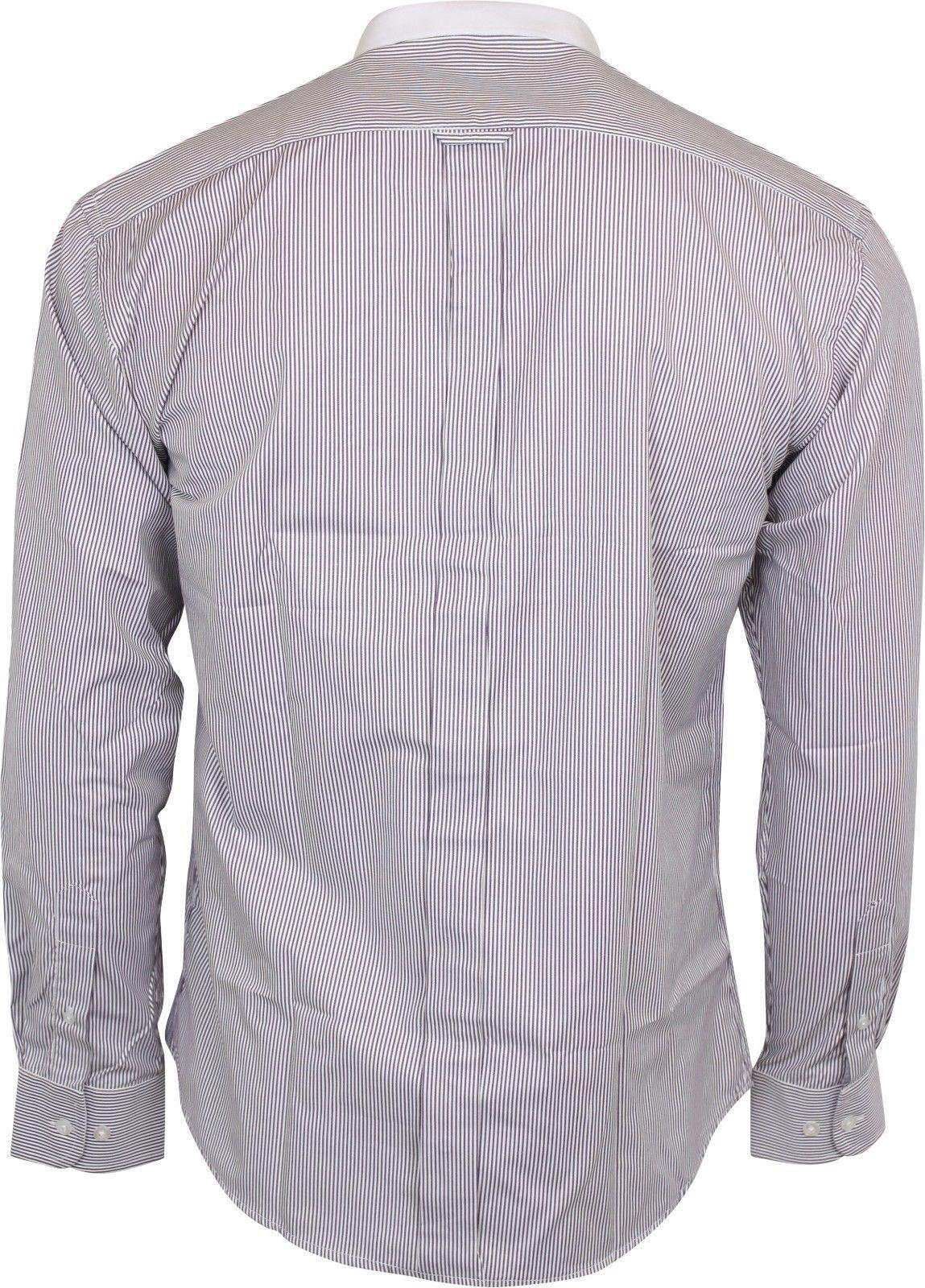 Relco Mens Classic Burgundy /& White Pinstripe Long Sleeved Grandad Shirt 50s 60s