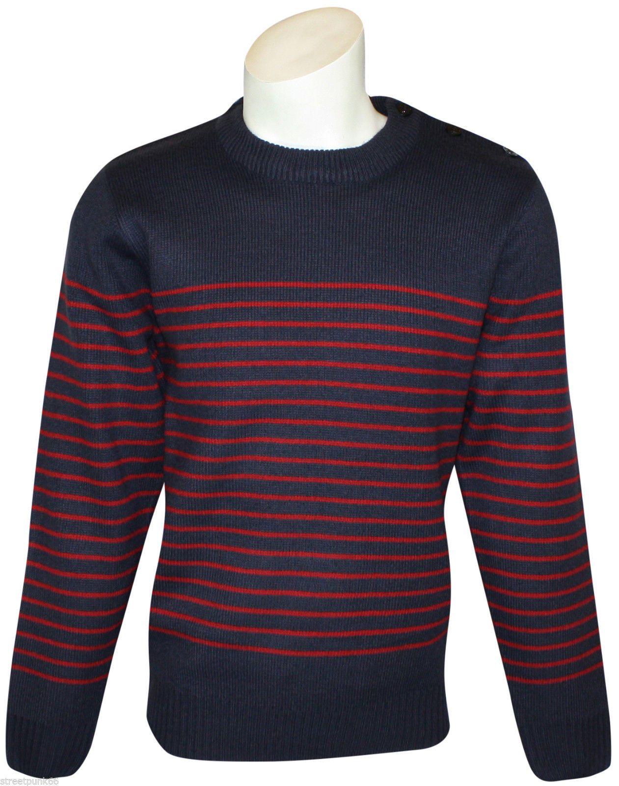 Relco Mens Mod Striped Naval Navy Blue Guernsey Knit Jumper Retro ...