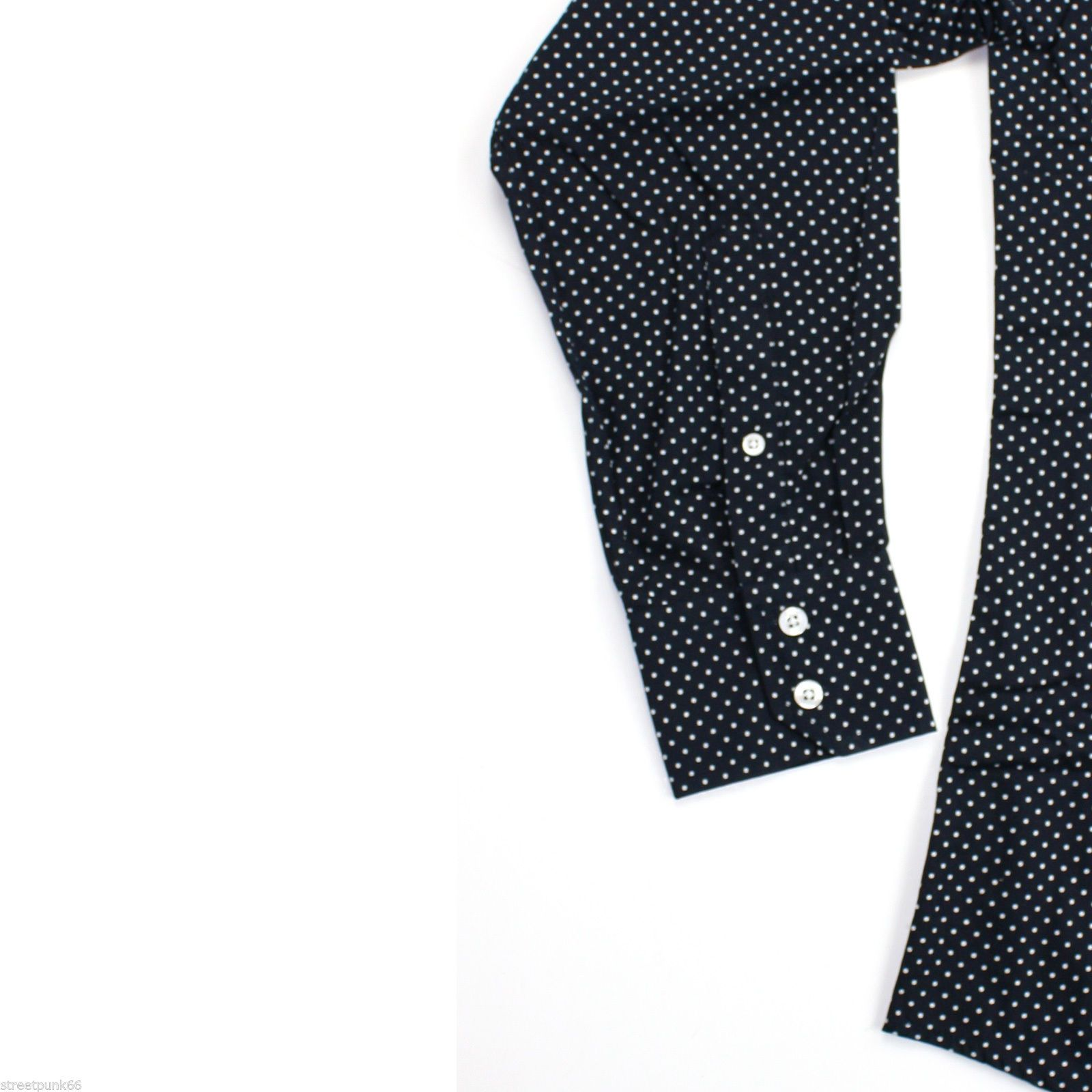 Relco Mens Navy Pin Dot Button Down Long Sleeved Shirt Mod Skin Retro 60s 70s