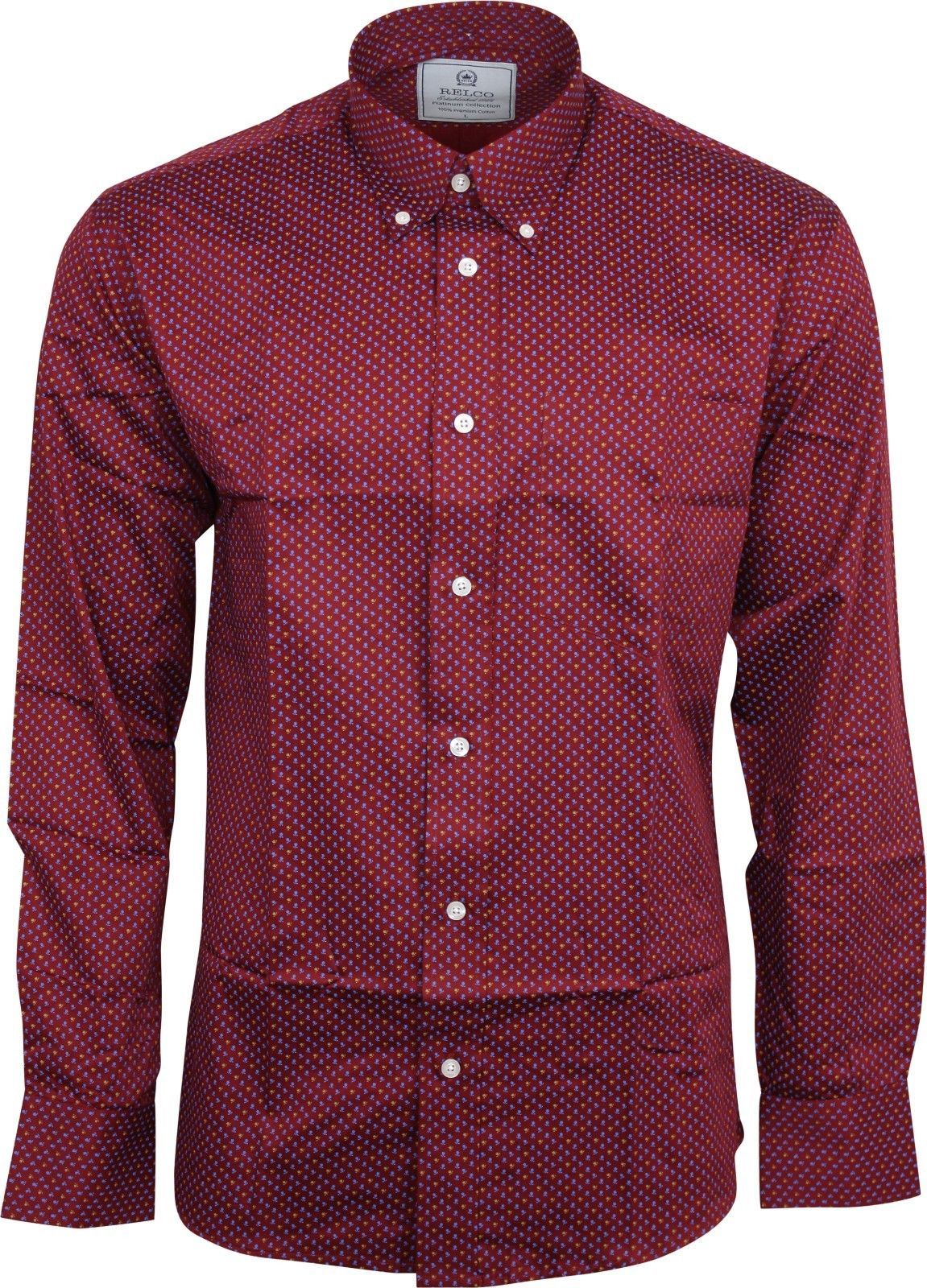 a30c0cf2f49 Relco Mens Platinum Burgundy Floral Long Sleeved Button Down Shirt Mod Skin  60s