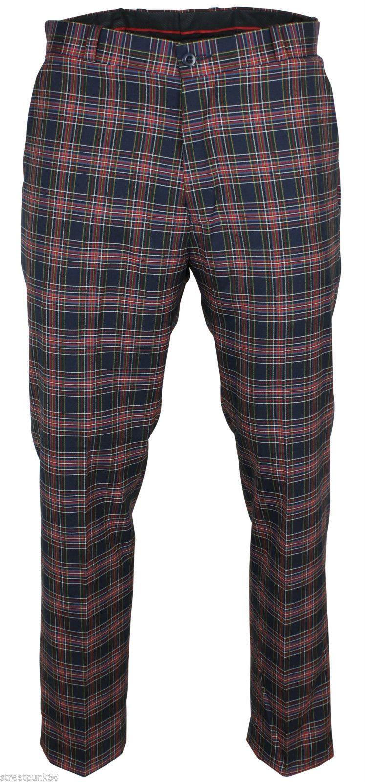 Relco Mens Stay Press Navy Tartan Trousers Sta Prest Retro
