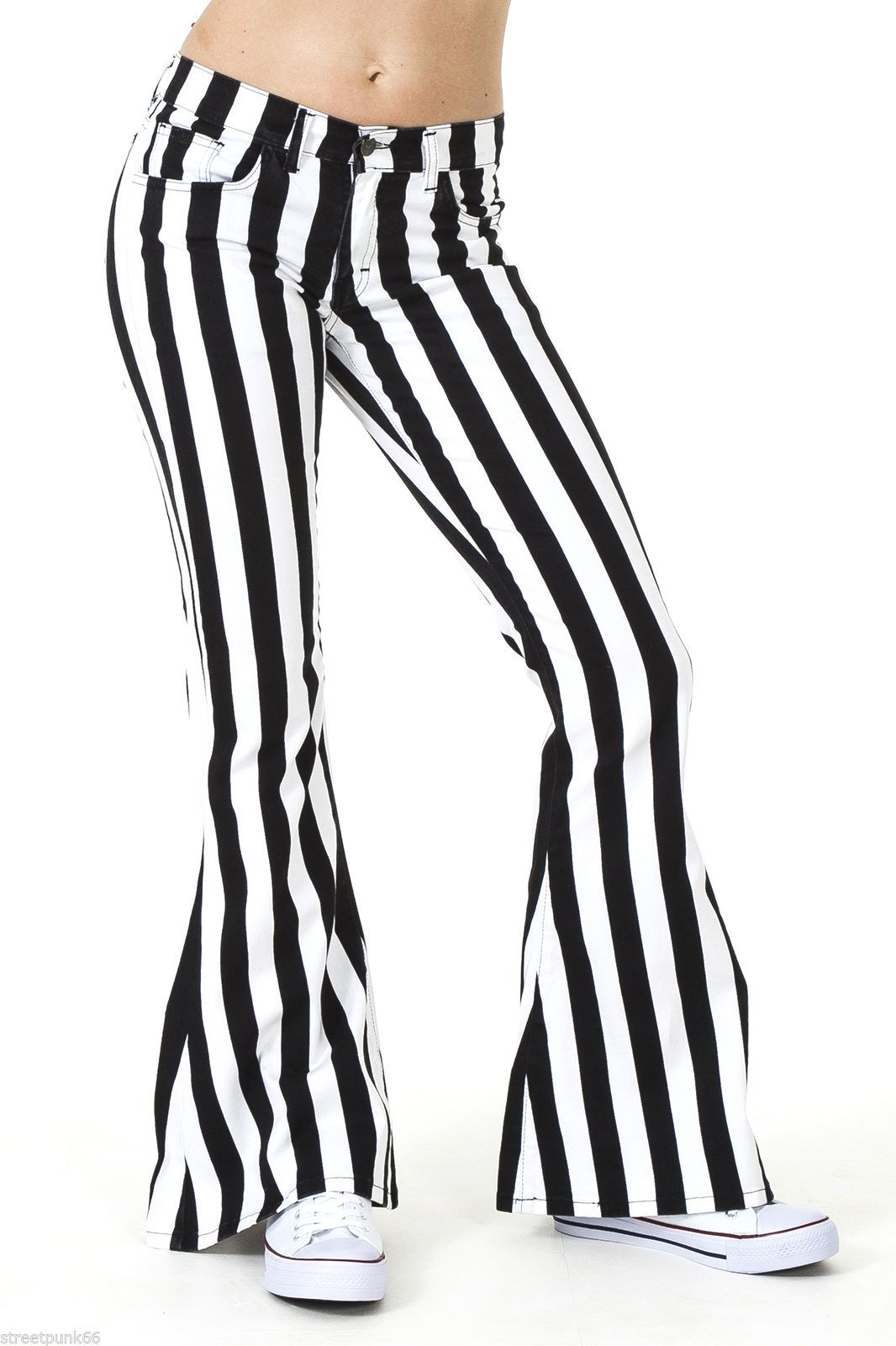 Womens 60S 70S Black And White Striped Bell Bottoms Flares Hippie Vintage Indie-2176
